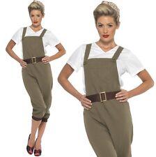 Ladies 40s 1940s 40's WW2 Land Girl Fancy Dress Costume Landgirl by Smiffys New