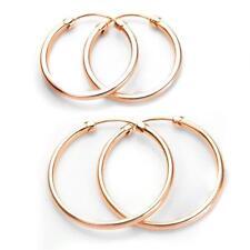 Orecchini a cerchio / cerchi semplici in oro rosa 9kt a canna vuota di diametro