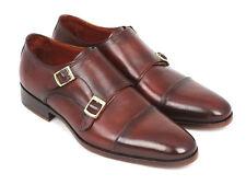 Paul Parkman Men's Cap-Toe Double Monkstraps Brown (ID#0457-BRW)