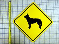 "Alaskan Husky Crossing Road Sign - 16"" X 16"" D Yellow Aluminum"