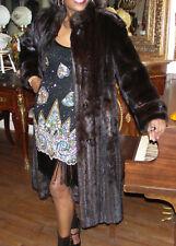 Elegant Black brown F Length Mink Fur Coat Jacket S-M