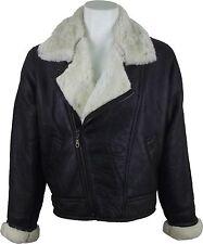 Unicornio Para Hombre De Piel De Oveja Cruz cremallera chaqueta marrón con crema de piel de cuero Abrigo #cg