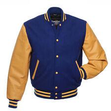 Stewart & Strauss Royal Blue Wool & Gold Leather Varsity Letterman School Jacket