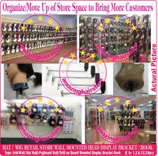Head Hat Wig Retail Beauty Store Display Hook Fixture Wall Mount Metal Holders