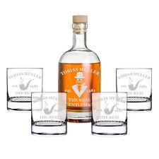 5-teiliges Geschenk-Set mit Whiskyflasche und 4x Gläser inkl. Gravur