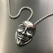 Men's Stainless Steel Guy Fawkes Vendetta Mask Necklace Pendant Gun Powder Plot