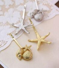 54h Choose gold or silver 2pc Starfish & Starfish Shell Hair Pin Bobby Pins Set