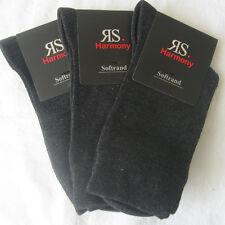 3 Paar Damen Socken ohne Gummi mit extra weichem Softrand dunkelgrau 35 bis 42