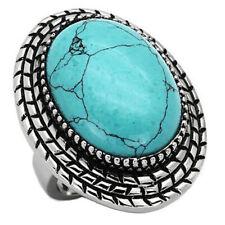 Turquoise Stainless Steel Ring Large Braid Detail Bezel Edge Set 18x24mm