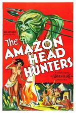 143299 AMAZON HEAD HUNTERS Horror 's FRAMED CANVAS PRINT Toile