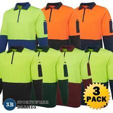 3 x Mens Hi Vis 1/2 Zip Fleecy Sweat Jumper Pullover Work Safety S-7XL 6HVFH