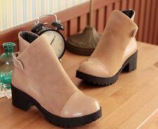 botas invierno alto cómodo zapatos de tacón mujer 5 cm beige 8754
