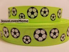 "Grosgrain Ribbon Soccer Balls on Lime Green Sports Teams Games Play Ball, 7/8"""