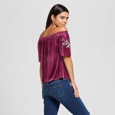 NEW Xhilaration Juniors Velvet Off the shoulder Top Purple Sizes XS,S,M