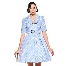 Women Vintage Retro 1950s V Neck Polkadot Spring Party Rockabilly Collar Dress