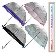 "Large 31"" Clear See Through Dome Umbrella Ladies Transparent Walking Rain Brolly"