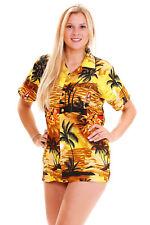 Funky Hawaiibluse Surf Senffarbe verschiedene Größen Hawaiishirt