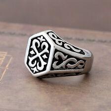 Men's Vintage Norse Thunder God Viking Thor's Hammer Stainless Steel Biker Ring
