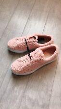 ZARA Women's Platform Plimsolls with Faux Fur (Pink, US 6.5, 7.5/EUR 37, 38)