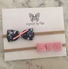 2x Headband Baby Girl Toddler Newborn Leather Bow Nylon Hair Accessory Flowers