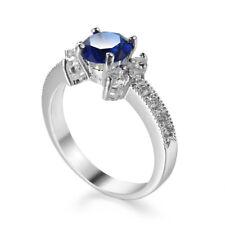 Blue Sapphire AAA Cz Jewelry Women's Engagement 925 Silver Wedding Ring Sz 6-10