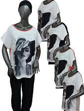 "TREND Shirt Bluse Tunika Oversize Druck ""Frau mit Hut"" 44 46 48 50 Farbauswahl"