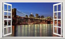 New York Brooklyn Bridge Fenêtre Magique Mur Adhésif Sticker Print Poster 3D