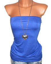 LAURA SCOTT Top Bandeautop Shirt Gr. 32 34 36 38 royalblau pink NEU