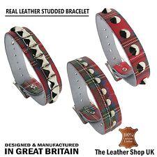 New Adjustable Handmade Gothic Wrist Leather Tartan Studded Punk Cuff Wristband