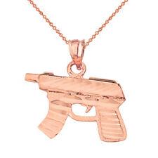 14k Solid Rose Gold MP5 Short Machine Gun Pendant Necklace