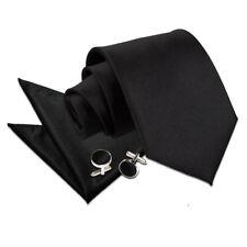 DQT Satin Plain Solid Black Classic Slim Skinny Tie Hanky Cufflinks