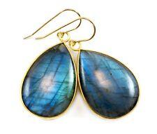 """Labradorite Earrings Blue Flash Large Long Smooth Bezel Teardrops 1.8 """" 14k Gold"""