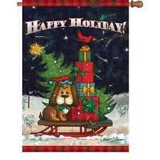 "Doggone Dog Happy Holiday Sleigh Christmas Tree Presents House Flag 40"" x 28"""