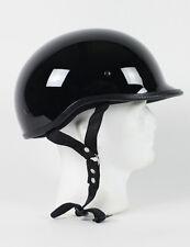 Gloss Black Polo Motorcycle Helmet DOT Skeleton Biker Solid Shorty Jockey S M L