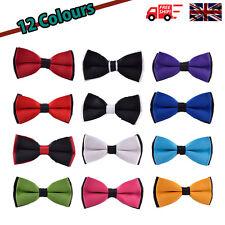 Mens Pre Tied Satin Wedding Party Fancy Dual Colour Necktie Bow Tie - 12 Colours