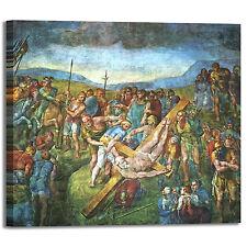 Michelangelo crocifissione san Pietro quadro stampa tela dipinto telaio arredo
