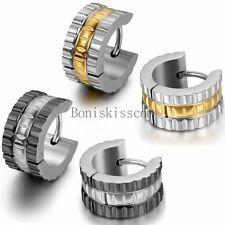 Stainless Steel Hinged Hoop Huggies Ear Plug Stud Earrings Men's Women's Fashion