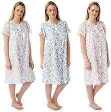 Womans Marlon Poly Cotton Short Sleeve Button Through Nightie Nightdress MN12