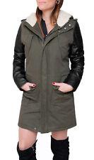Parka donna Diamond invernale verde casual giacca trench con maniche pelle nero