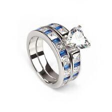 Heart Cz Blue Accents Ginger Lyne Kaeli Bridal Engagement Wedding Band Ring Set