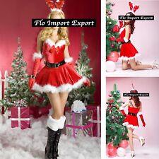 Vestito Costume Babbo Natale Donna Cosplay Hostess Christmas Mini Dress HOS049