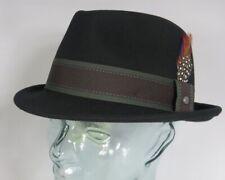 stetson CHAMPLIN Negro Pequeño sombrero trilby Lana Suave De Fieltro Gorro NUEVO
