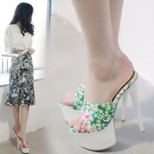 Womens Mules Slides High Heel Slip-on Floral Stilettos Platform Party Shoes Mule