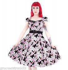 H&R London AFG Black Pink Rose Floral Long Dress Rockabilly Pinup Hearts Roses