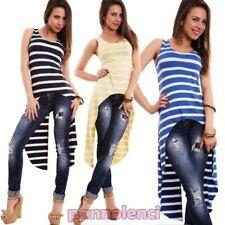 Pull femme t-shirt long débardeur à rayures file d'attente redingote CJ-1452