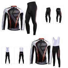 Men Pro Team Cycling Bicycle Long Sleeve Jersey Bib Pants Set Gel Pad Kit