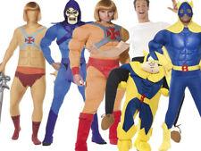 80s Superhero Mens Bananaman Costume Fancy Dress Hero Teen Wolf New