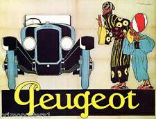AUTOMOBILE CAR PEUGEOT ADVERTISEMENT FRENCH VINTAGE POSTER REPRO
