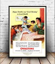 Felice famiglie dire BUONGIORNO, VINTAGE OVALTINE Pubblicità poster riproduzione.