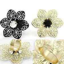 Blumen Ring Blüte Boho Vintage in oder SCHWARZ verstellbar variabel Strass